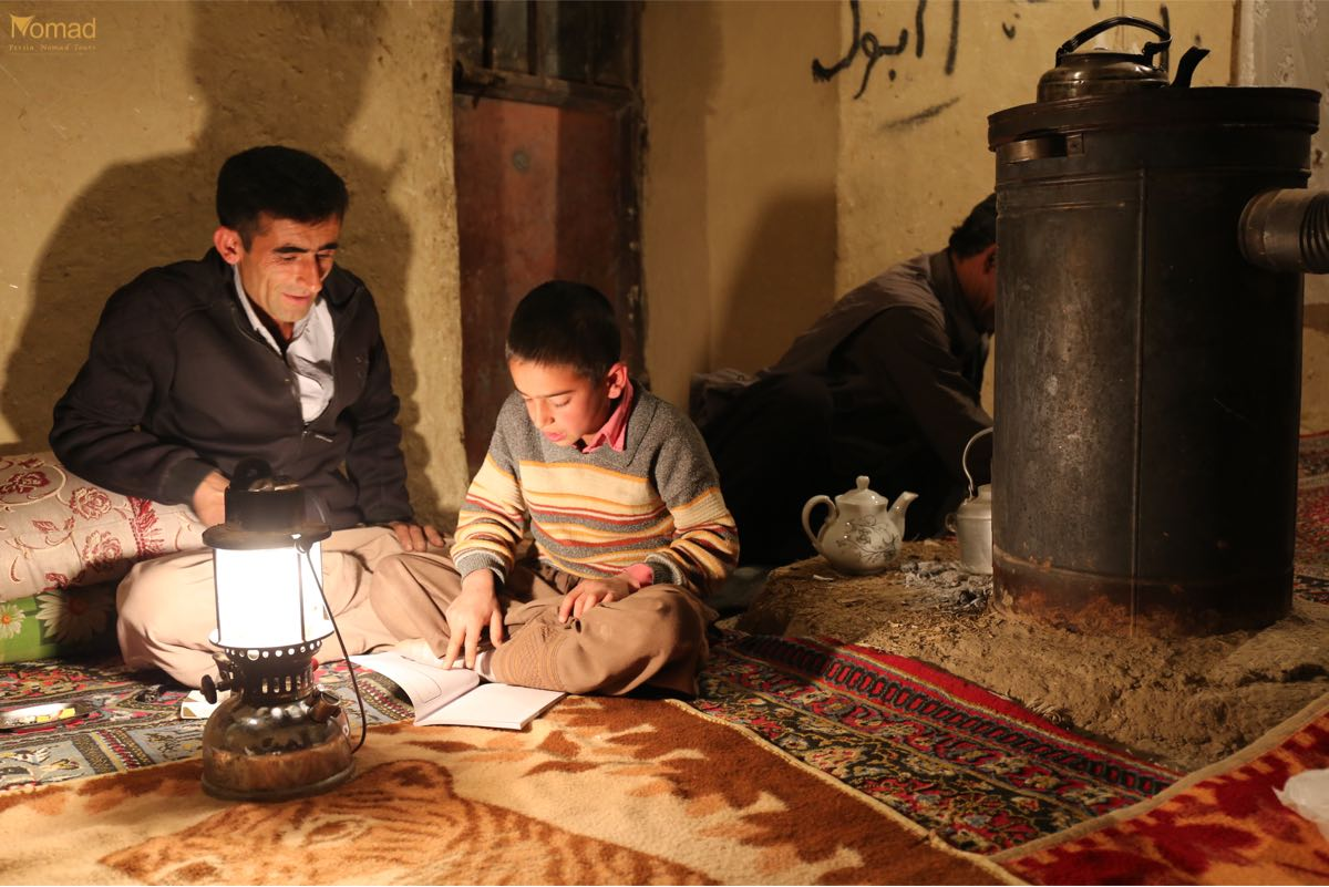 Bakhtiari nomads family in cold winter nights