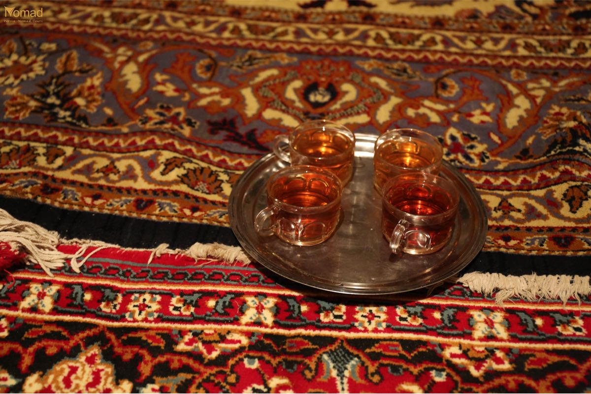 Iranian black tea in the middle of winter