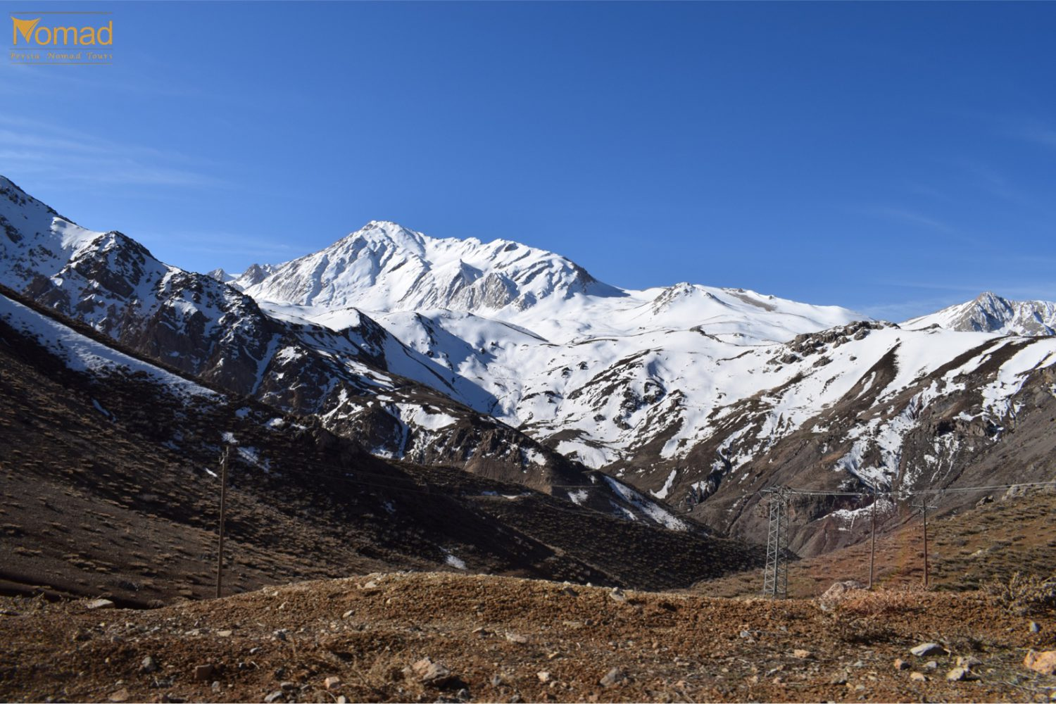 Snowy zagros mountains in iran