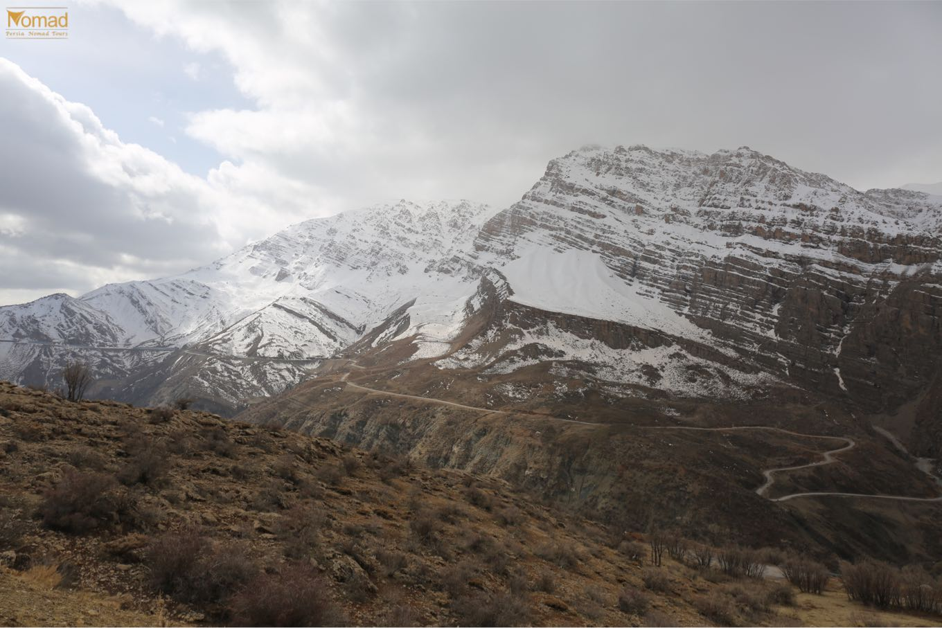 Zagros mountains in winter Iran