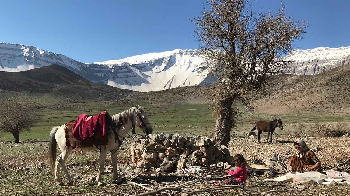 iranian nomadic family near zagros mountain range in iran