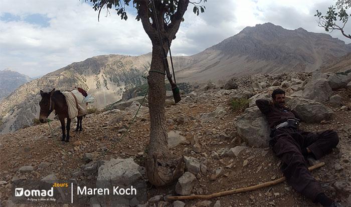 bakhtiari shepherd take a nap- iran nomad tours