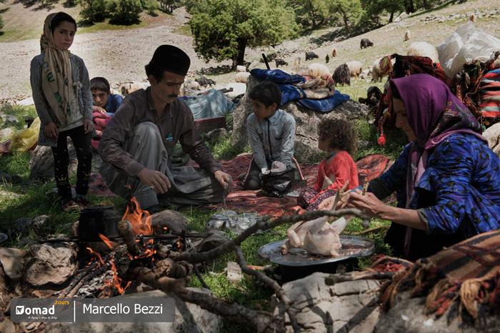 iranian nomadic family near zagros mountain ranges in iran