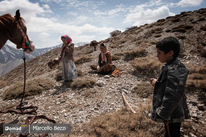 Iranian nomads taking rest during seasonal migration- kuch