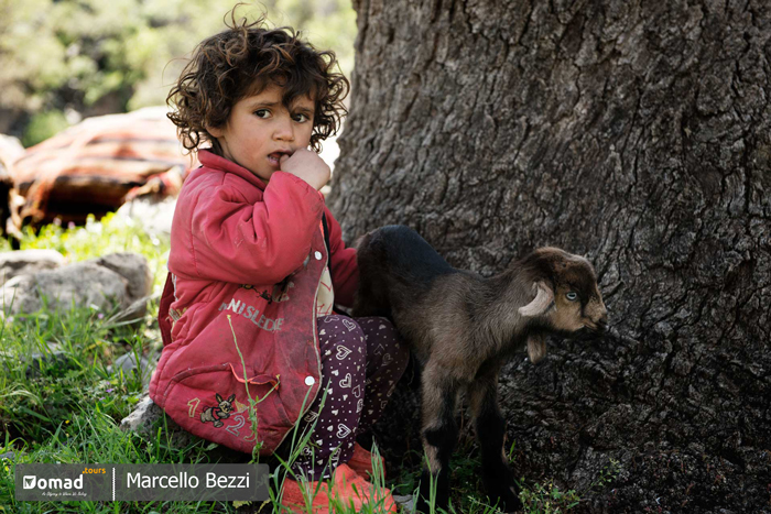 Bakhtiari girl with her lamb-Iran Nomad Tours
