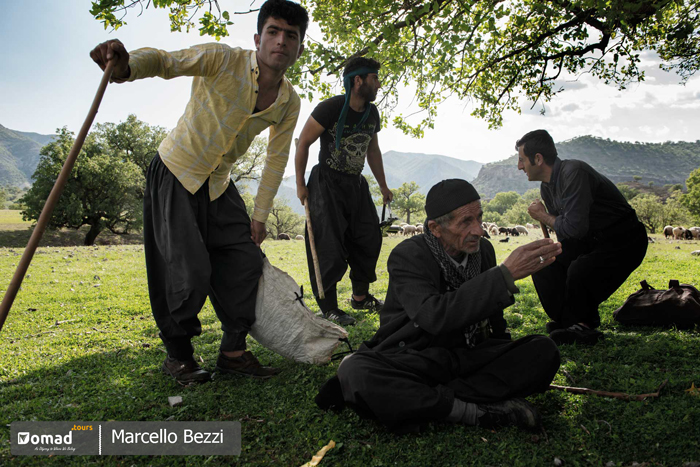 Iranian nomadic men gathering together in Bakhtiari lands