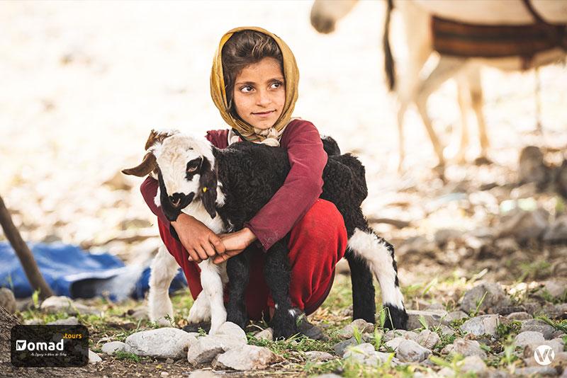 A nomadic girl hugging her lamb