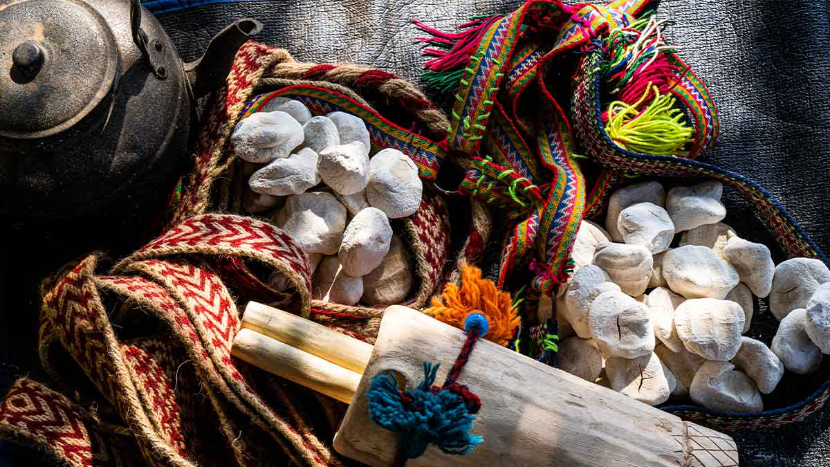 Nomadic dairy products Kashk wrapped by colorful ropes