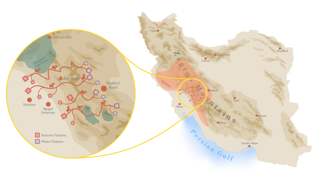 A map of Iran showing its nomadic pathways
