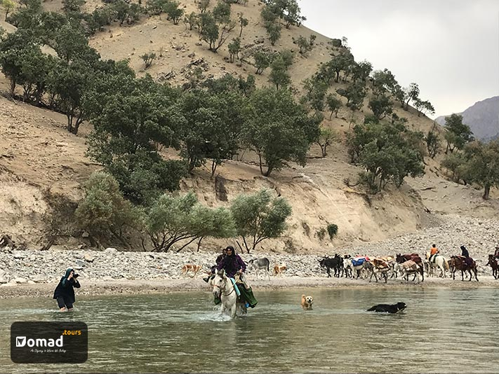 The Bakhtiari nomads are passing a river on day 3 of the kooch, and Emily Garthwaite is taking their pictures while she's in the water up to her knees